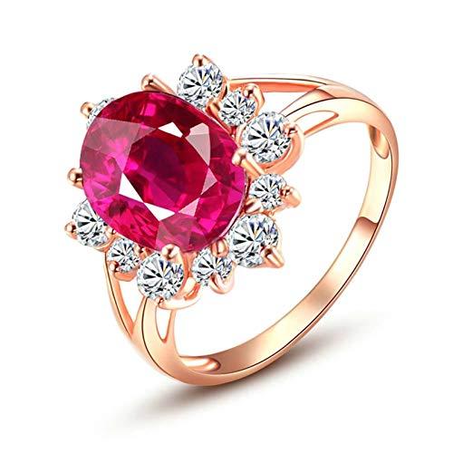 Ubestlove Schmuck Damenring Rosegold Partner Geschenke Für Sie Blume Oval 3.45Ct Turmaline Ring 3.45Ct 60