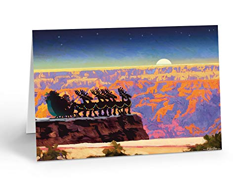 Grand Canyon Overlook Christmas Card - 18 Western Cards & 19 Envelopes - Arizona Southwest Cards (Standard)