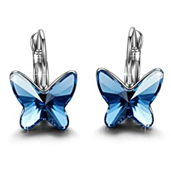 This earrings feature a sparkling Swarovski Elements crystal in beautiful blue. Designed in France, the Brilla women jewelry is ideal for all fashion ladies The earrings is completely nickel free, safe and fashion 'Butterfly' describe the happy-go-lu...