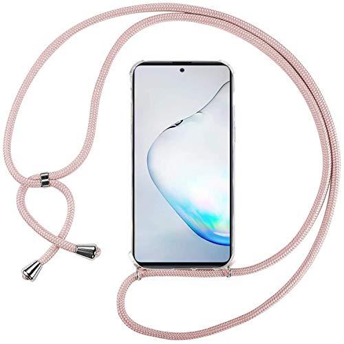 Ingen Funda con Cuerda para Samsung Galaxy Note 10 Lite/M60S - Carcasa Transparente TPU Suave Silicona Case con Colgante - Rosa