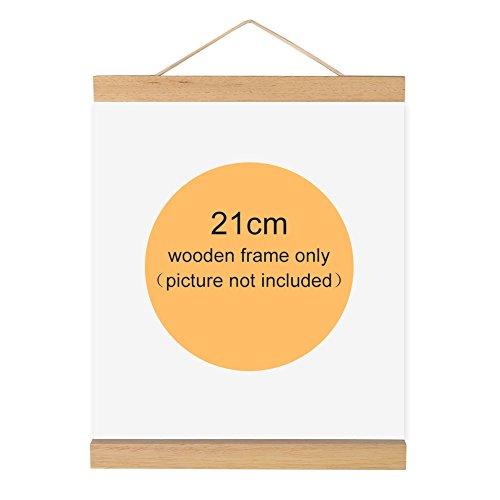 Magnetischer Bilderrahmen, Holz, Natur Holz Rahmen Bild Poster Artwork auf Leinwand Aufhänger für Home Dekoration Wand weiß Holz, 21 cm