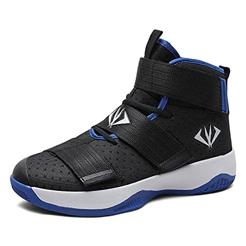 MAUGELY Men's Women's Velcro Breathable Basketball Shoes Students Sports Causal Outdoor Non-Slip Sneakers for Couple Black 9.5/8 US