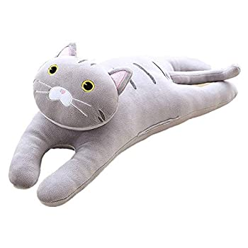 AUCOOMA Cat Plush Hugging Pillow for Kids Cat Stuffed Animals Plush Toy  Grey 19.7