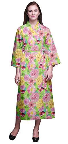 Bimba Verde Lima Floral Hojas y Rosa Bata de algodón Mujer Dama de Honor Larga preparándose Vestidos de Camisa túnica Kimono Impresa algodón XS