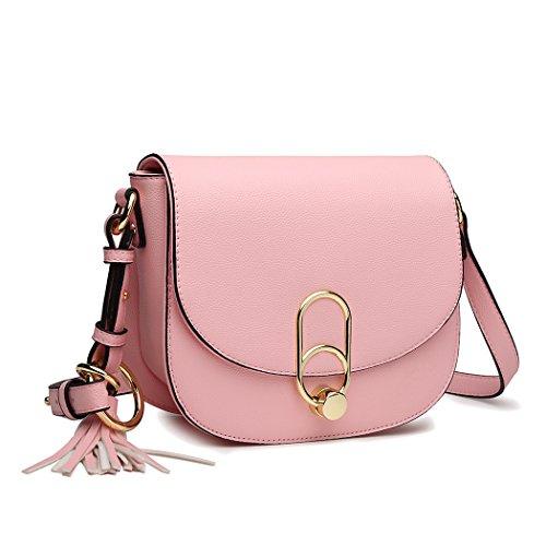 Miss Lulu Schultertasche Damen Umhängetasche Cross Body Bag Modern Mit Reißverschluss Quaste Urlaub Uni Shopping (Pink)