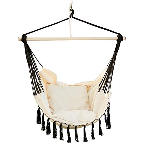 Hamaca colgante, 100 x 130 cm, cómoda y duradera, de algodón, con cojín y varilla de madera, elegante cuerda colgante, para interior y exterior, balcón, dormitorio, patio