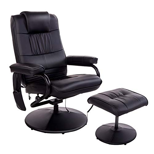 HOMCOM Massaging Faux Leather Recliner Chair and Ottoman Set with Remote Control 10 Heat & Massage Modes for Living Room, Bedroom, Office, Black