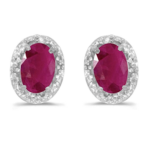 14K White Gold Oval Ruby and Diamond Earrings (1ct tgw)