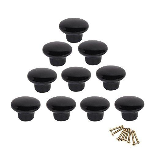 10 Rund bunt Keramik Schrank Knöpfe Single Loch Pull Griff für Schublade, Kommode, Schrank, Tür Schwarz