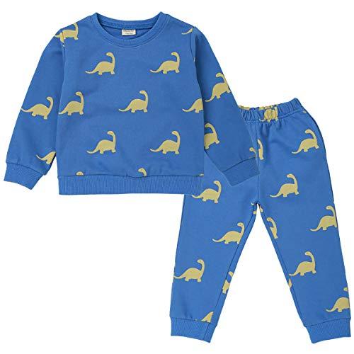 Conjuntos de Pijamas de Dinosaurio para niños, Ropa de niños, Trajes de Dormir, Ropa de Dormir de Manga Larga, 2 Piezas para niños de 1 a 7 años