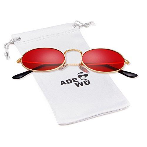 ADEWU Occhiali da sole da donna, piccoli occhiali ovali (New - Gold(frame)+Red(lens))