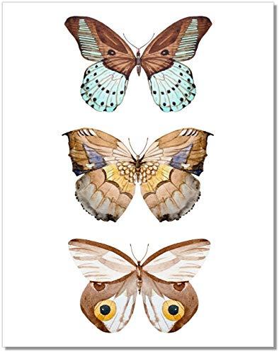 Butterfly Wall Art - 3 Brown Butterflies Decor - Watercolor Art Print - 11x14 – Unframed