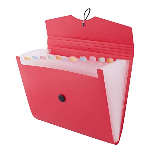 D.RECT 5580 Fächermappe Ordnungsmappe erweiterbar Dokumentenmappen 12 Fächer A4 Rot