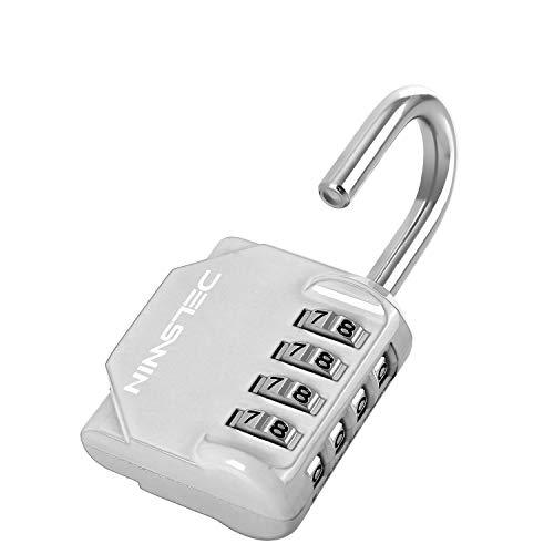 Locker Lock - 4 Digit Resetable Combination Padlock for School Gym Locker,Sports Locker,Fence,Mailbox,Case,Storage Unit,Sliver