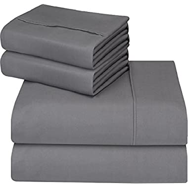 Utopia Bedding 4-Piece Queen Bed Sheet Set - Soft Brushed Microfiber Wrinkle Fade and Stain Resistant - Gray