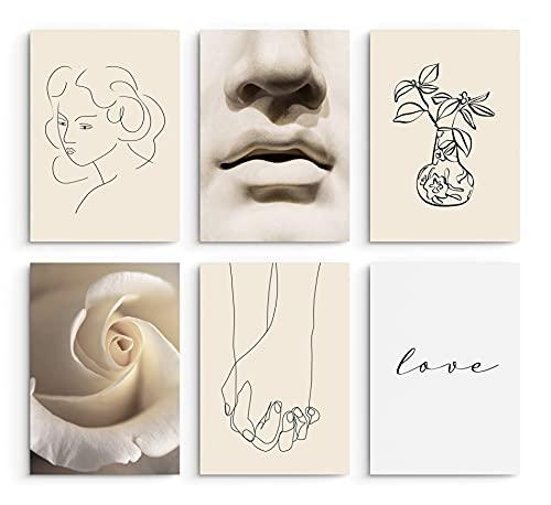 Hambient Laminas Decorativas para Enmarcar Cuadros - 6 Láminas de 21 x 30 cm (Beige)
