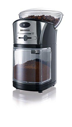 SEVERIN KM 3874 Elektrische Mahlwerk-Kaffeemühle (100 W, Edelstahl-Scheibenmahlwerk, Max. Füllmenge 150 g) schwarz/Silber