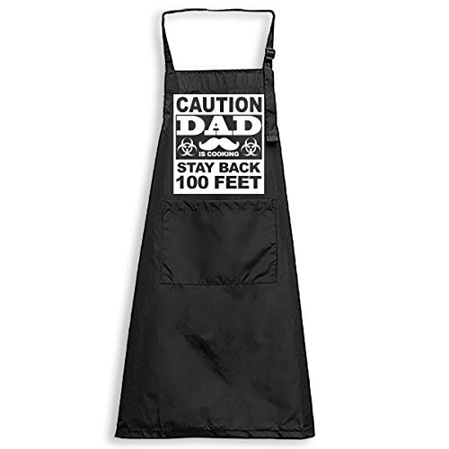 Funny Dad Apron Gifts from Daughter Son Wife - Black Adjustable Bib Apron Waterproof with Pockets - Caution Stand Back Dad is Cooking Apron Kitchen Gifts