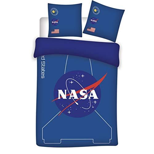 Nasa - Juego de cama reversible (funda nórdica de 140 x 200 cm y funda de almohada de 63 x 63 cm), color azul