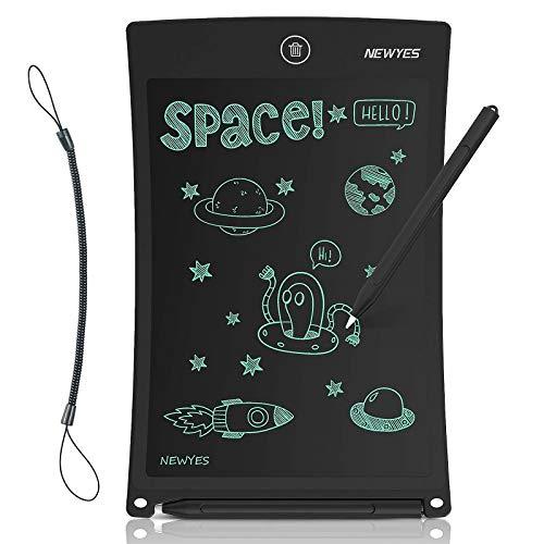 NEWYES Tavoletta Grafica LCD, 8.5 Pollici con Tasto di Blocco Tablet da Disegno Lavagna Elettronica Scrittura Digitale, Diversi Colori per Bambini(nero)