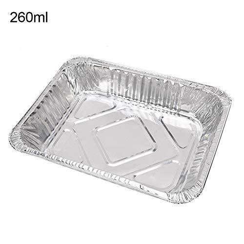 AchidistviQ 50 Stück Einweg-Rechteck Aluminiumfolie BBQ Backform Food Tray Container Folienpfannen Perfekt Zum Backen Von Kuchen 260 ml