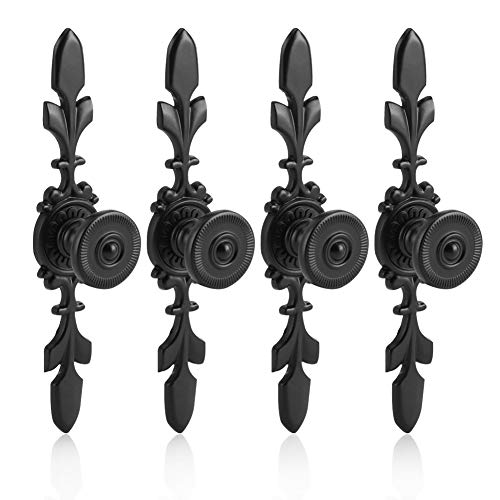 Fdit Black Set of 4 Vintage Style Pull Handle Door Knobs Back Plate for Home Furniture Drawers Cabinets Wardrobes Cupboard Cabinet with Screw