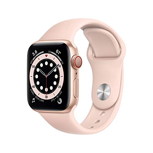 New Apple Watch Series 6 (GPS + Cellular, 40mm) - Gold Aluminum Case with Pink Sand Sport Band