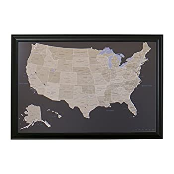 Push Pin Travel Maps Earth Toned US with Black Frame and Pins - 27.5 inches x 39.5 inches