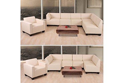 6-1 Sofa creme Couchgarnitur Couch Sofa Kunstleder Sofagarnitur Sessel modern