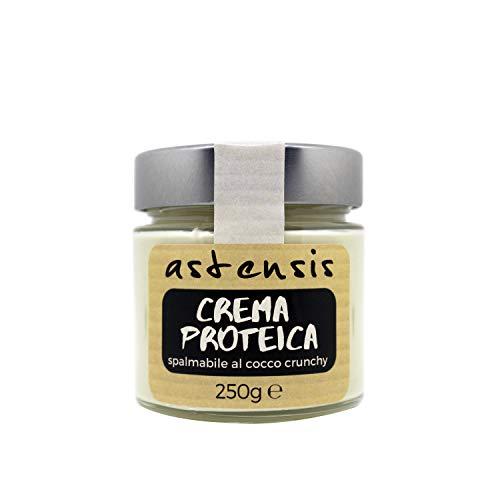 Astensis - Crema Proteica Cocco Artigianale - Crema Spalmabile Bianca Senza Zucchero Proteica 25% al gusto Cocco Con Proteine Del Latte 25%