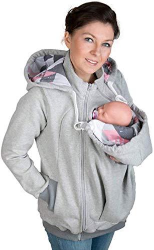 MY0629 Mama Damen Kapuzenpullover Stillzeit Top Zweilagiges,Tragejacke für Mama und Baby, Damen Langarm Umstandsjacke Warm Tragepullover mit Babyeinsatz