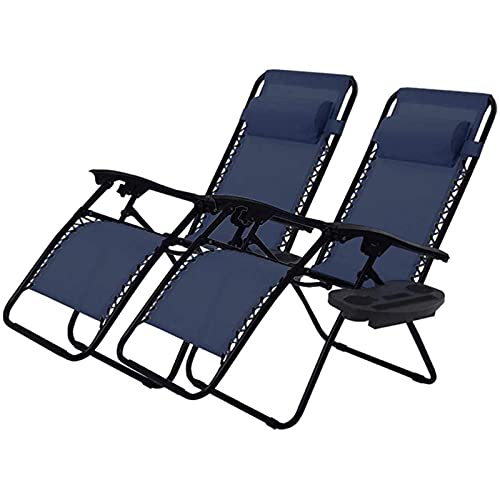FC-Bed Adjustable Patio Lounge Recliners Folding Zero Gravity Patio Lounge Chair Sun Pool Lawn Chaise with Pillows And Cup Holder Trays for Pool Outdoor Yard Beach