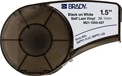 """Brady Cinta de etiquetas de vinilo autolaminado (M21-1500-427) – Negro sobre blanco, cinta translúcida – Compatible con impresora BMP21-PLUS – 14' de longitud, 1.5"""" de ancho"""