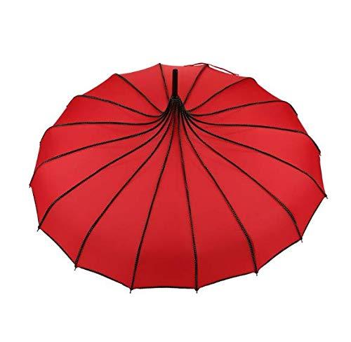 Xiaojing 16 Knochen Pagode Regenschirm Langen Griff Regenschirm Schöne Hochzeitsgeschenk Geraden Griff Outdoor-Regenschirm