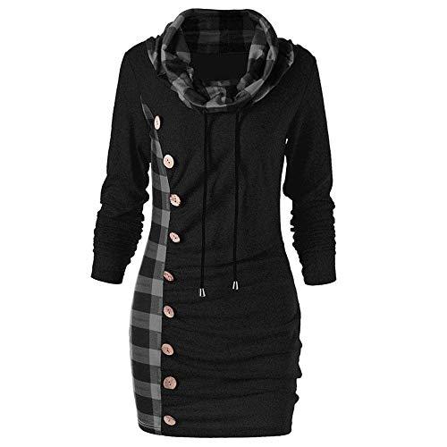 Damen Pullover Kleid,Paticess 2019 Mode Sweatshirt Herbst Winter Rollkragen Langarm Plaid Patchwork T Shirt Tops Asymmetrie Tasten Bluse Plus Size