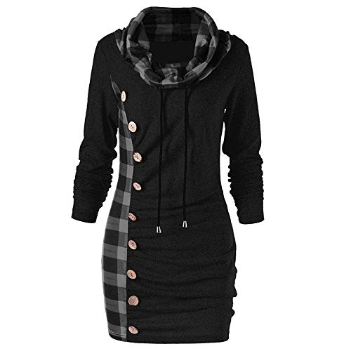 OSYARD Damen Kleid Dress Oberseiten Pullover Sweatshirt, Frauen Hemd Tunika Große Größe Schal Kragen Karierte Bluse T-Shirt Top Pulli mit Button Plaid Patchwork Blusekleid Freizeit Dress