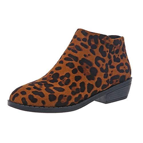 TIFIY Damen Ankle Stiefel Damenmode Lässig Rom Retro Kurze Stiefeletten Reißverschluss Quadratische Absätze Schuhe Täglich Wild Basic Ausgehen Dating Pendeln Schuhe(Kaffee,39)
