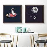 Dibujos animados nórdicos astronauta cohete Luna lienzo pintura de pared carteles de arte de pared moderno para dormitorio sala de estar decoración del hogar-60x60cmx2 sin marco