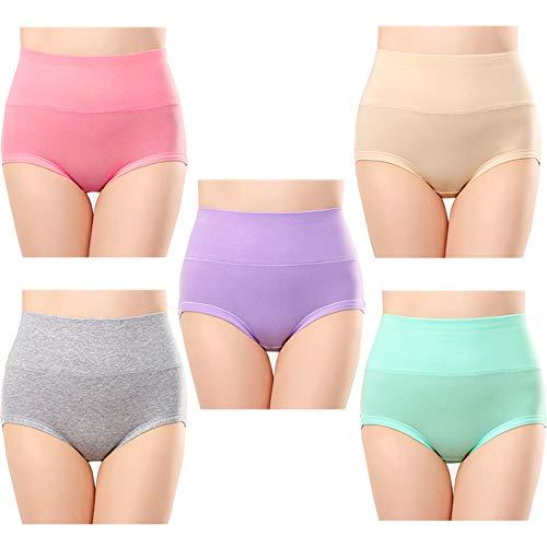 Anntry Ropa Interior de algodón Confort para Mujer de 5 Calzones de Cintura Alta Controlar de la Panza Bragas de Estiramiento de Las señoras (Multicoloured-1, S)