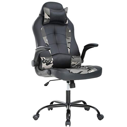 PC Gaming Chair Ergonomic Office Chair Cheap Desk Chair PU Leather Racing Chair Executive Swivel Rolling Computer Chair with Lumbar Support Flip Up Arms Headrest for Adults,Camo