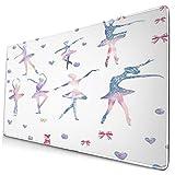 Custom Office Mauspad,Ballett Mädchen tanzen Ballerinas,Anti-Rutsch-Gummiunterseite Gaming-Mauspad-Matte Schreibtisch-Dekor 15,8 'x 29,5'