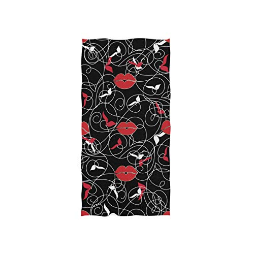 Naanle Modern Black Floral Print Leaves Woman Red Lip Pattern Vintage Decorative Line Art Ornament Soft Bath Towel Absorbent Hand Towels Multipurpose for Bathroom Hotel Gym and Spa 30'x15'