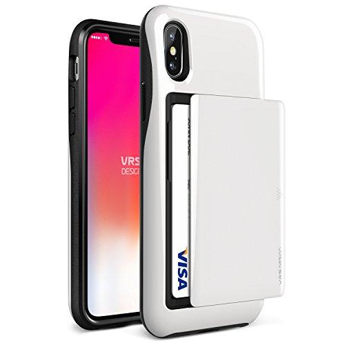 VRS Design - Custodia a portafoglio con 2 scomparti per carte di credito, supporta la ricarica wireless, antiurto, doppio strato per Apple iPhone X/iPhone 10