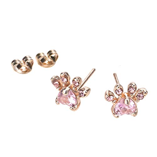 OTOTEC - Coppia di orecchini a perno a forma di zampa di cucciolo di gatto con zirconi ubico per donne e ragazze