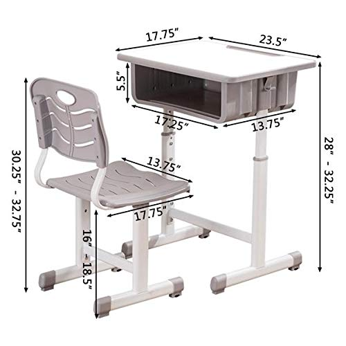 Child's Lift-Adjustable Students Desk & Chair (Kids Furniture, White, 2 Pieces, Great Gift for Girls and Boys – Best for 3, 4, 5, 6, 7 and 8 Year Olds