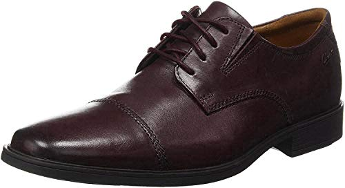Clarks Men's Tilden Cap Oxford, Wine Leather, 9.5 M US