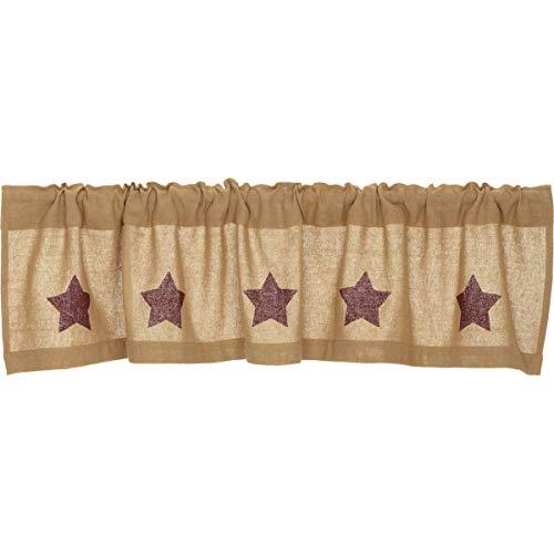Classic Country Primitive Kitchen Window Curtains - Burlap w/ Stars Tan Valance, Burgundy