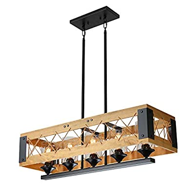 XIPUDA 5-Light Kitchen Island Lighting, Industrial Pendant Light Fixture, Farmhouse Chandeliers, Pool Table Linear Ceiling Lights, Wood Metal Frame Hanging Light for Dinning Room