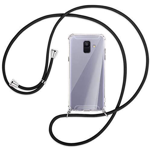 mtb more energy® Handykette kompatibel mit Samsung Galaxy A6 2018 (SM-A600, 5.6'') - schwarz - Smartphone Hülle zum Umhängen - Anti Shock Strong TPU Hülle