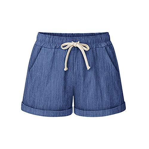 Womens Shorts, Ulanda Drawstring Elastic Waist Casual Comfy Cotton Linen Beach Shorts for Women Plus Size Chambray